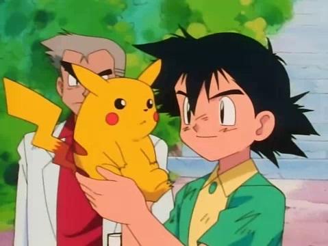 Ash, Pikachu, Prof. Oak